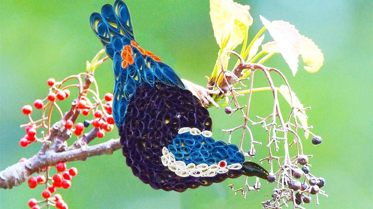 Paper Quilling; Made Easy # How to make Beautiful quilling blue Bird design using Paper Art Quilling