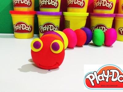 Play doh  caterpillar How to Make a caterpillar suprise eggs toys funtoyz media