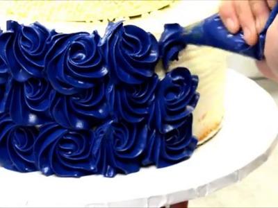 Blue Rosette Wedding Cake Tutorial - How to video