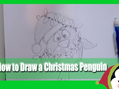 How to Draw a CHRISTMAS PENGUIN (a fun Holiday doodle tutorial for all ages) - @dramaticparrot