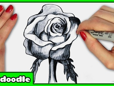 How To Draw a Realistic Rose in 3D - Step by Step Drawing Tutorial by HooplKidzDoodle
