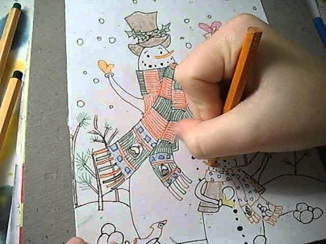 How to Draw a Snowman Christmas Card (Part 4)