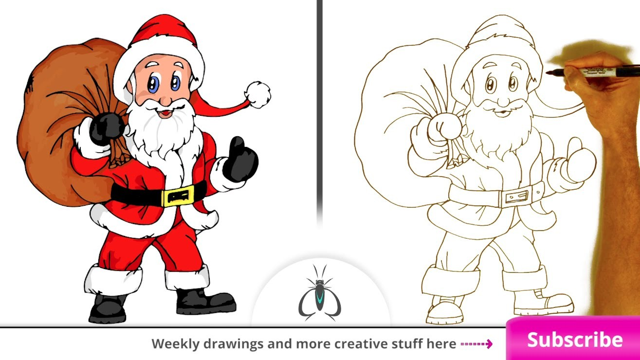 How to Draw Santa Claus - Easy Art Lesson