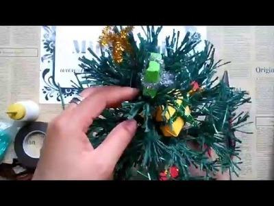 How to make paper pine tree - Làm cây thông giấy nhún