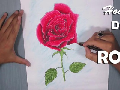 Rose Drawing | How to Draw a Red Rose with Oil Pastel
