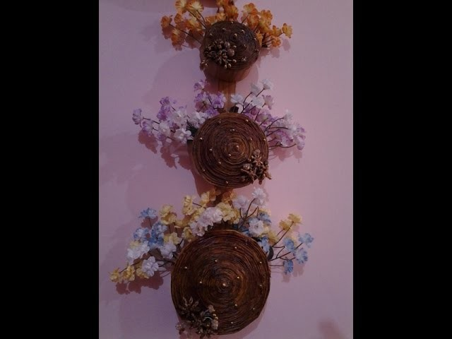 Best out of waste paper 3 tier wall hanging flower basket for Waste paper wall hanging