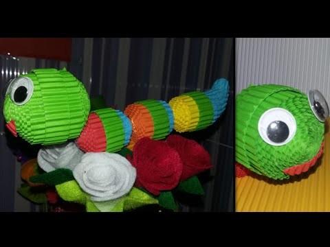 DIY caterpillar. worm from corrugated paper. kokoru paper