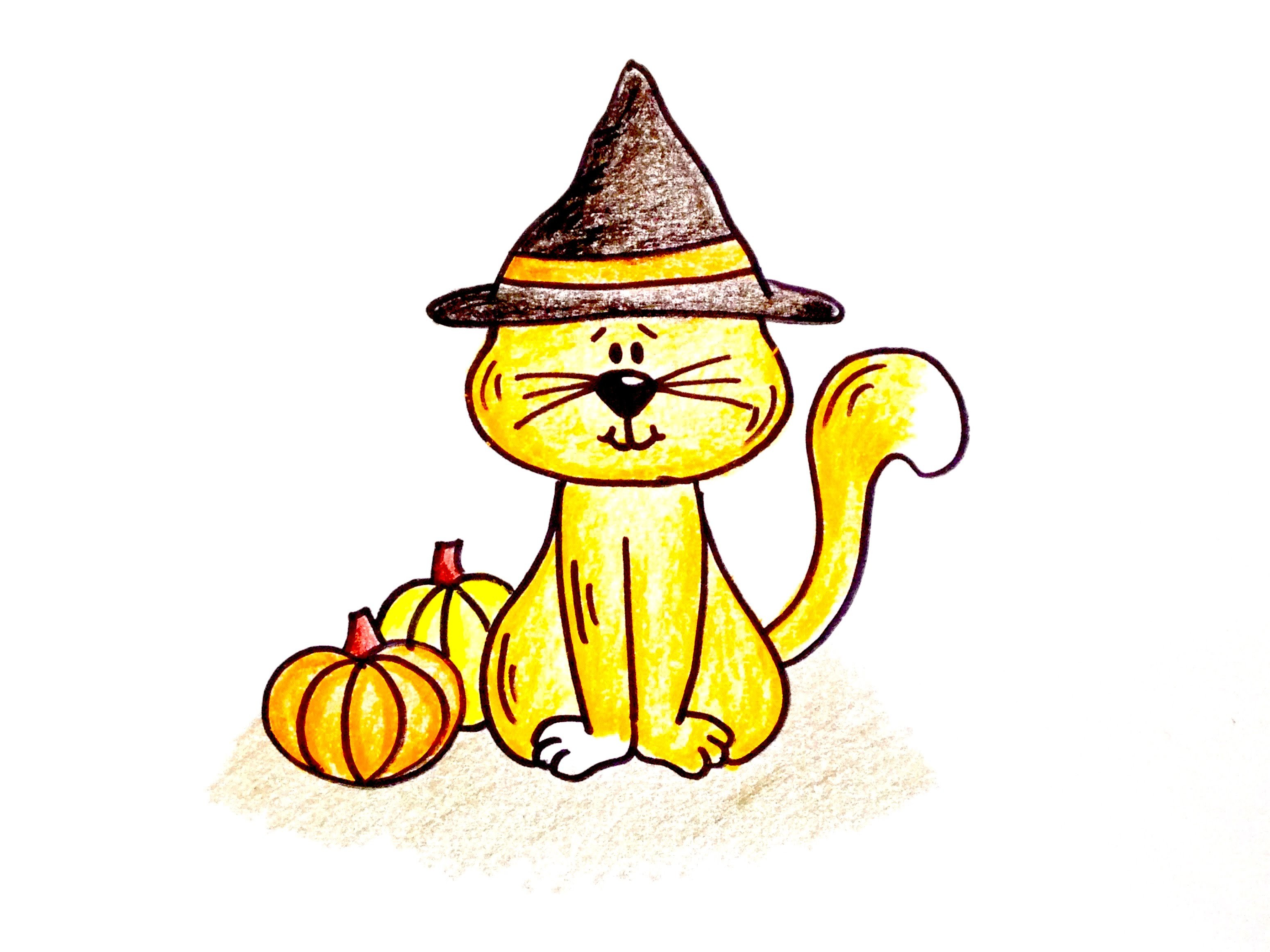 Drawing Lesson: How to Draw a Halloween Cat