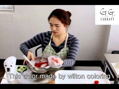 Flower cake by G.G.cakraft. How to make Red rose  #9