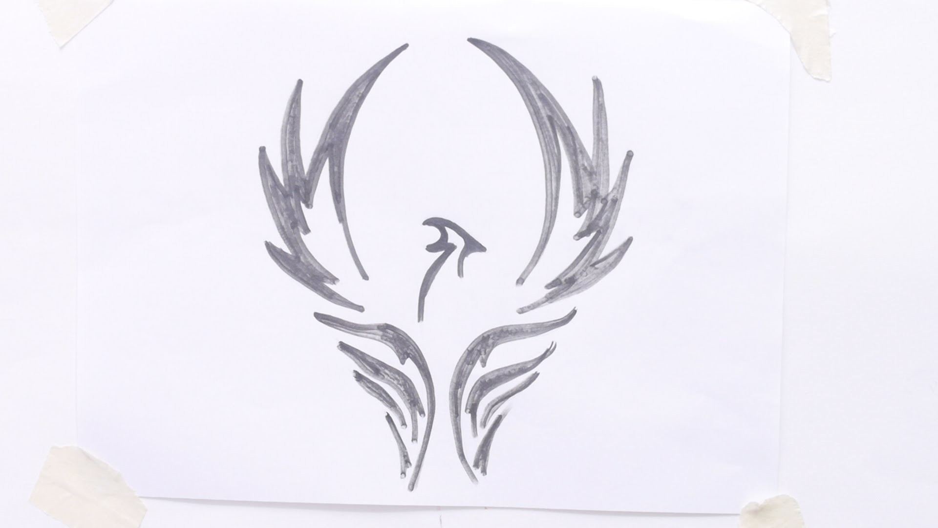 How to draw bird tribal tattoo