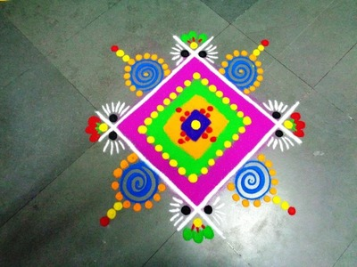 How to make beautiful square latest rangoli
