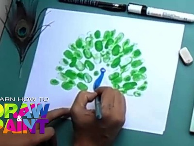 Learn how to draw and paint  Thumb print  peacock