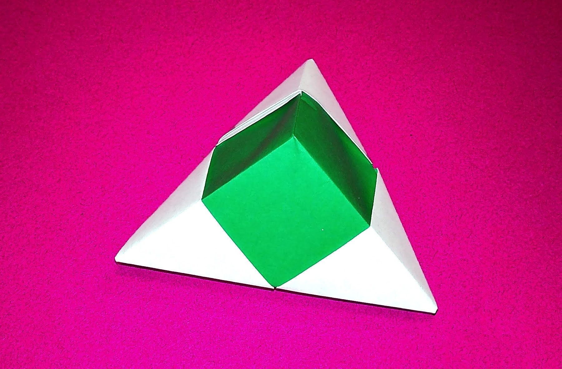 Origami pyramid box - one piece of paper. Valentine's gift box. Easy gift box only 3 minutes