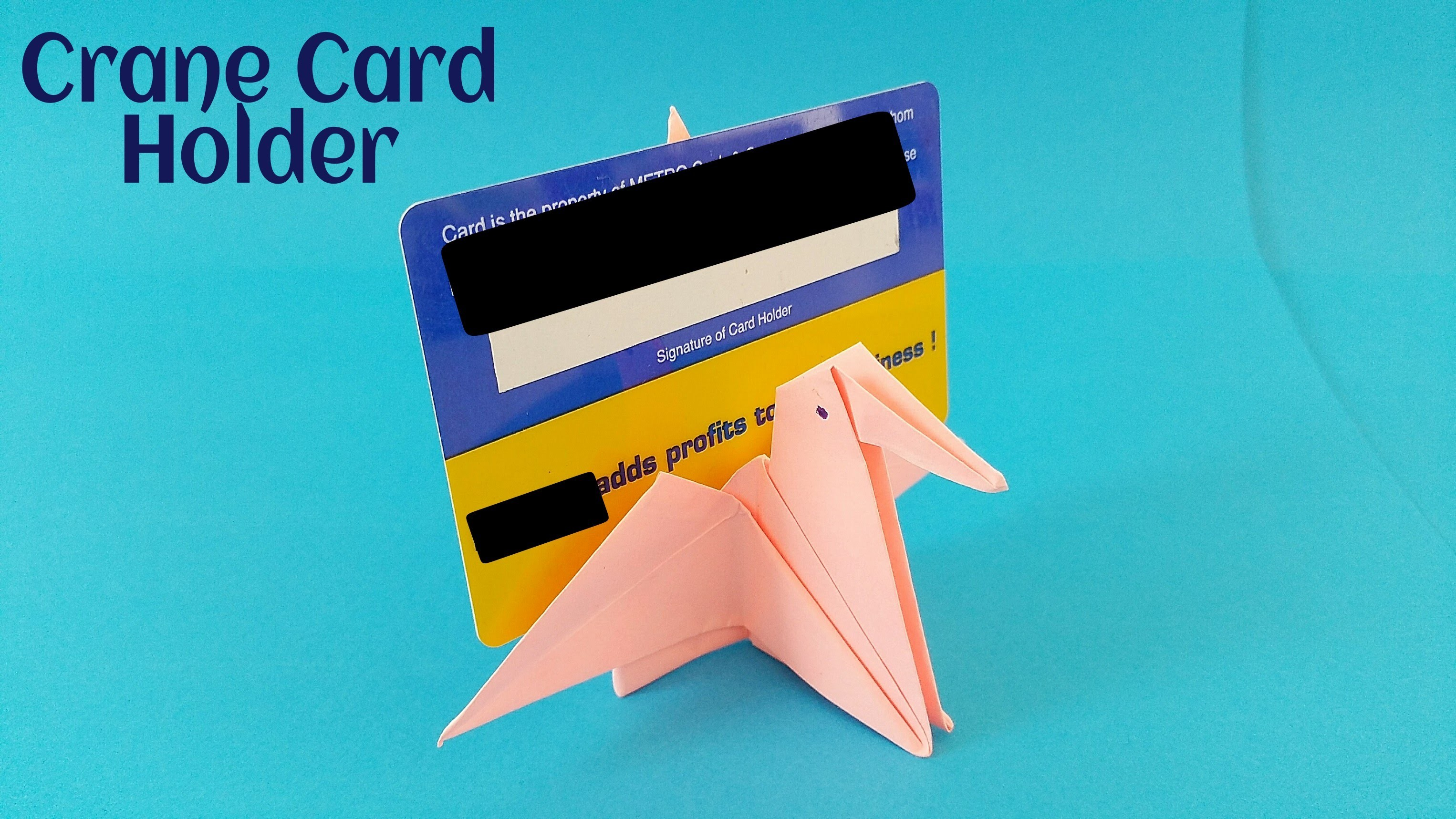 "Useful Origami - Paper ""Crane card holder"" - Simple and Easy"