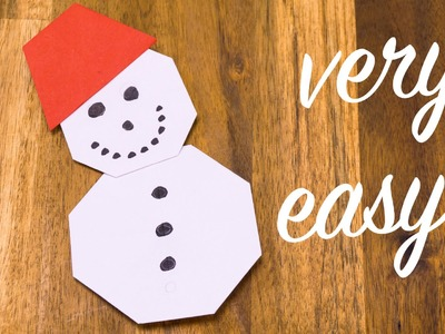 Origami snowman folding tutorial - easy crafting with paper for kids
