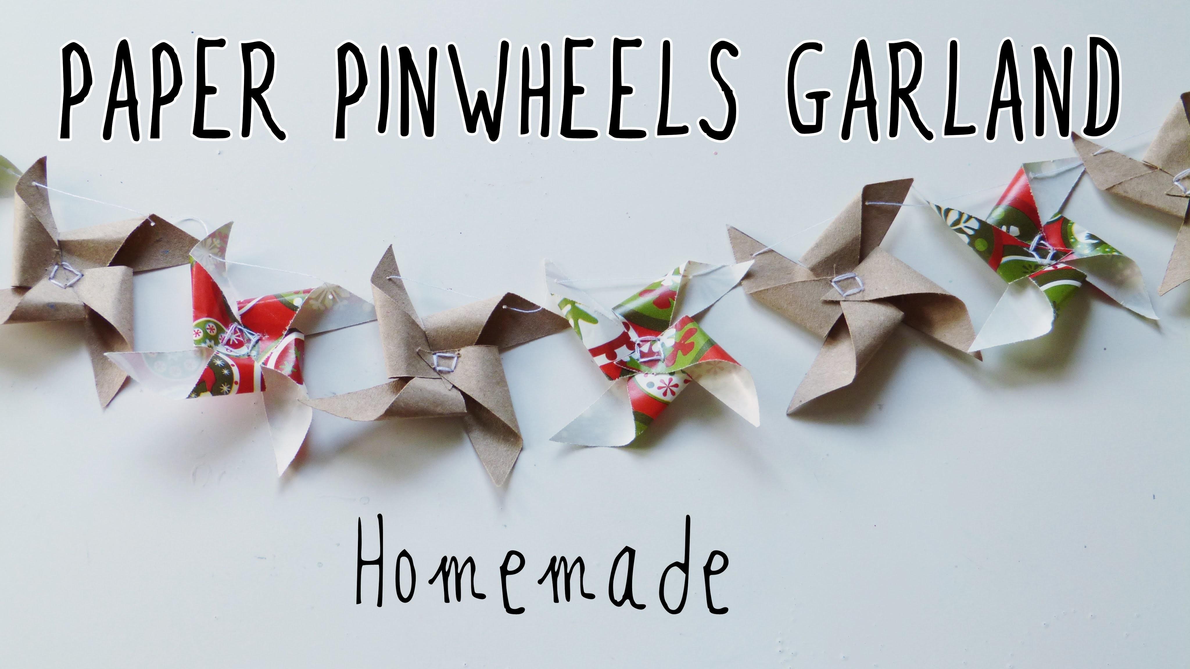 Paper pinwheels garland (easy crafts to make at home)