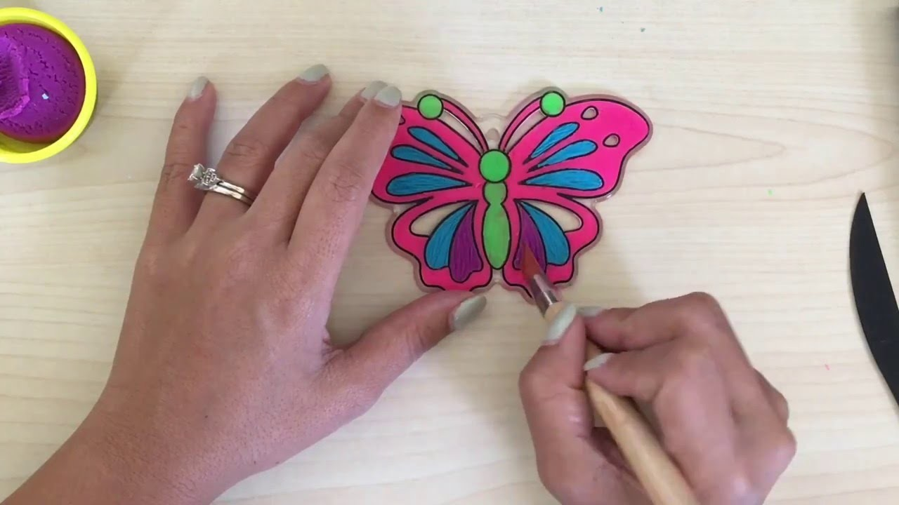Play Doh Coloring Book:  DIY Sun Catcher Art: Play Doh Butterfly