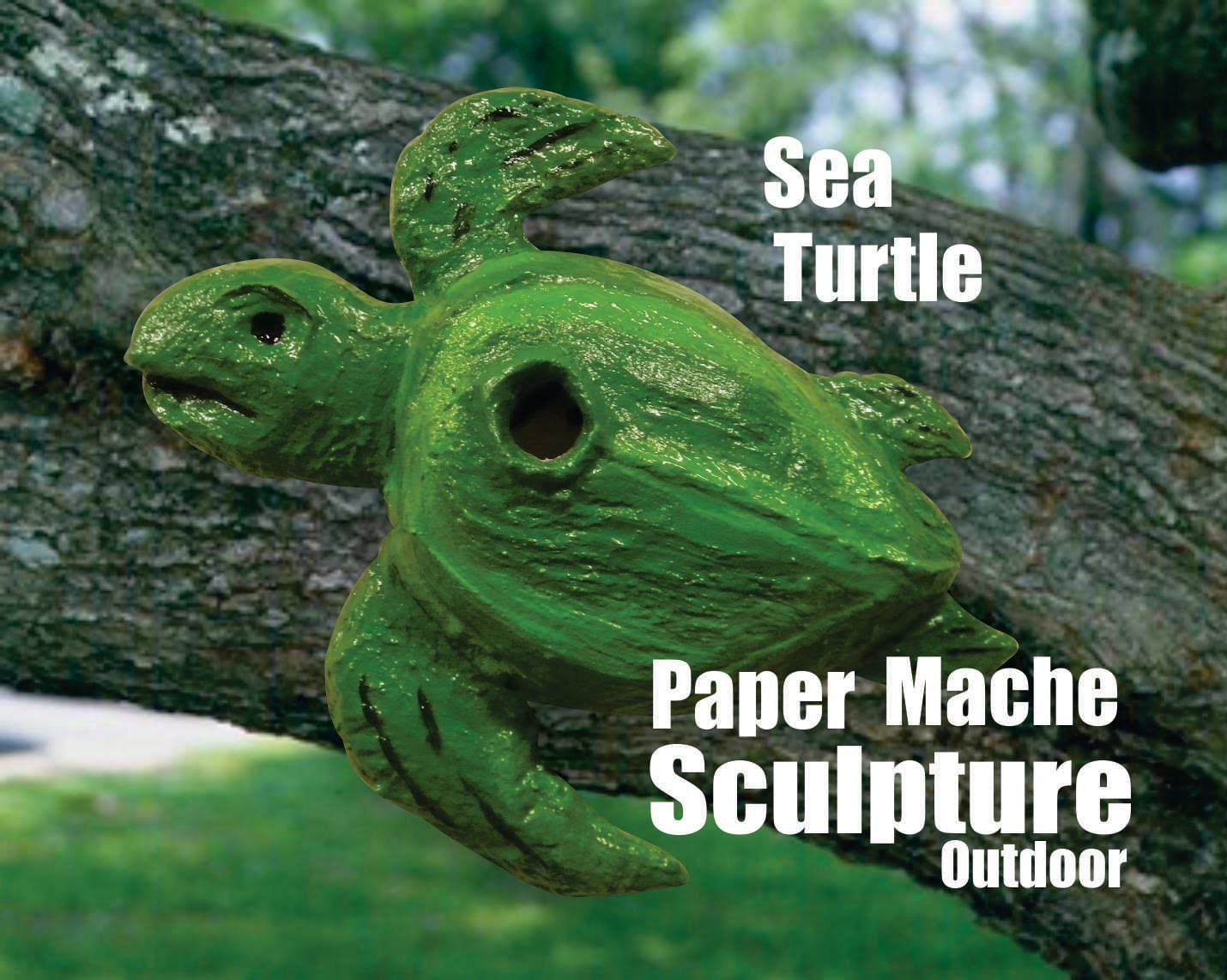 DIY Sea Turtle Paper Mache Outdoor Weather Resistant Bird House backyard Art