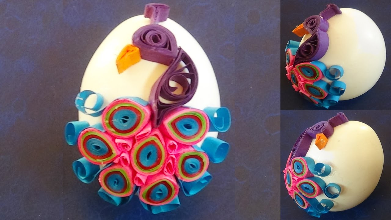 Paper Quilling Easter Eggs decorated with quilled peacock