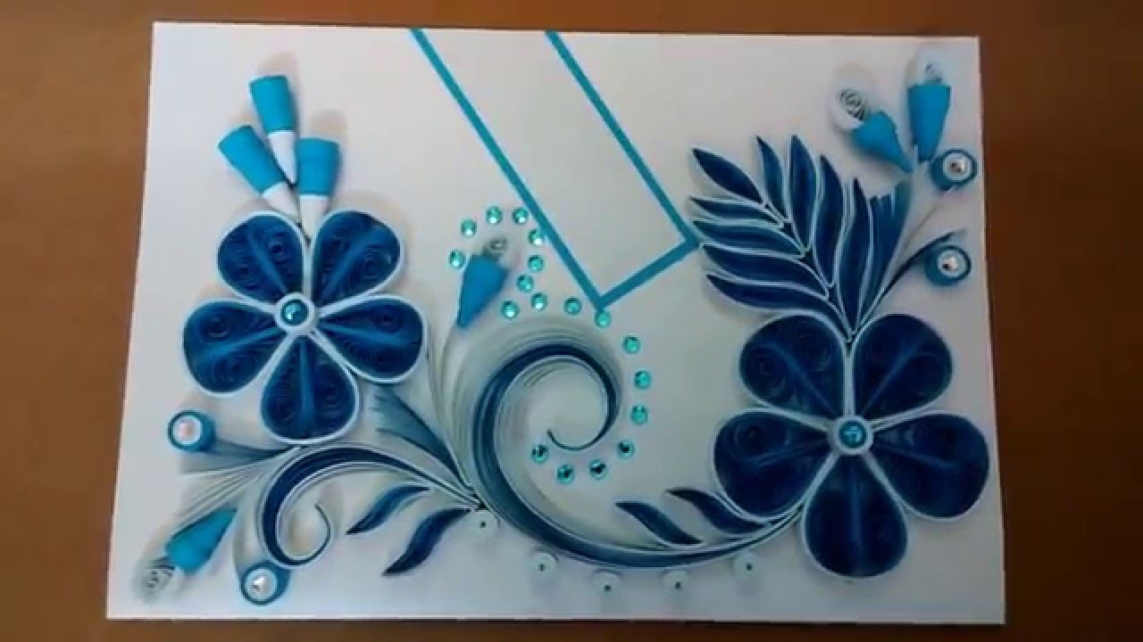 Paper Quilling Greeting Card Blue My Crafts And DIY Projects