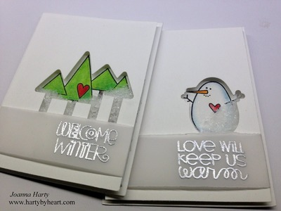 Two Clean and Simple Shaker cards using Paper Smooches