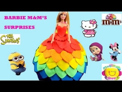 Giant Barbie Play Doh Rainbow Surprise Dress M &M's Hide and Seek Minnie Minion Masha Hello Kitty