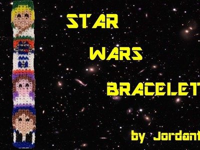 New Star Wars Bracelet - Alpha. Rainbow Loom - Luke Skywalker, Princess Leia, R2D2, Han Solo