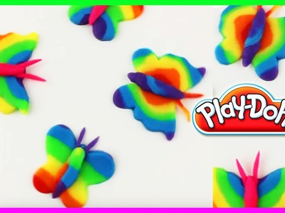 ♥ Play Doh Rainbow Butterflies Plasticine Creation