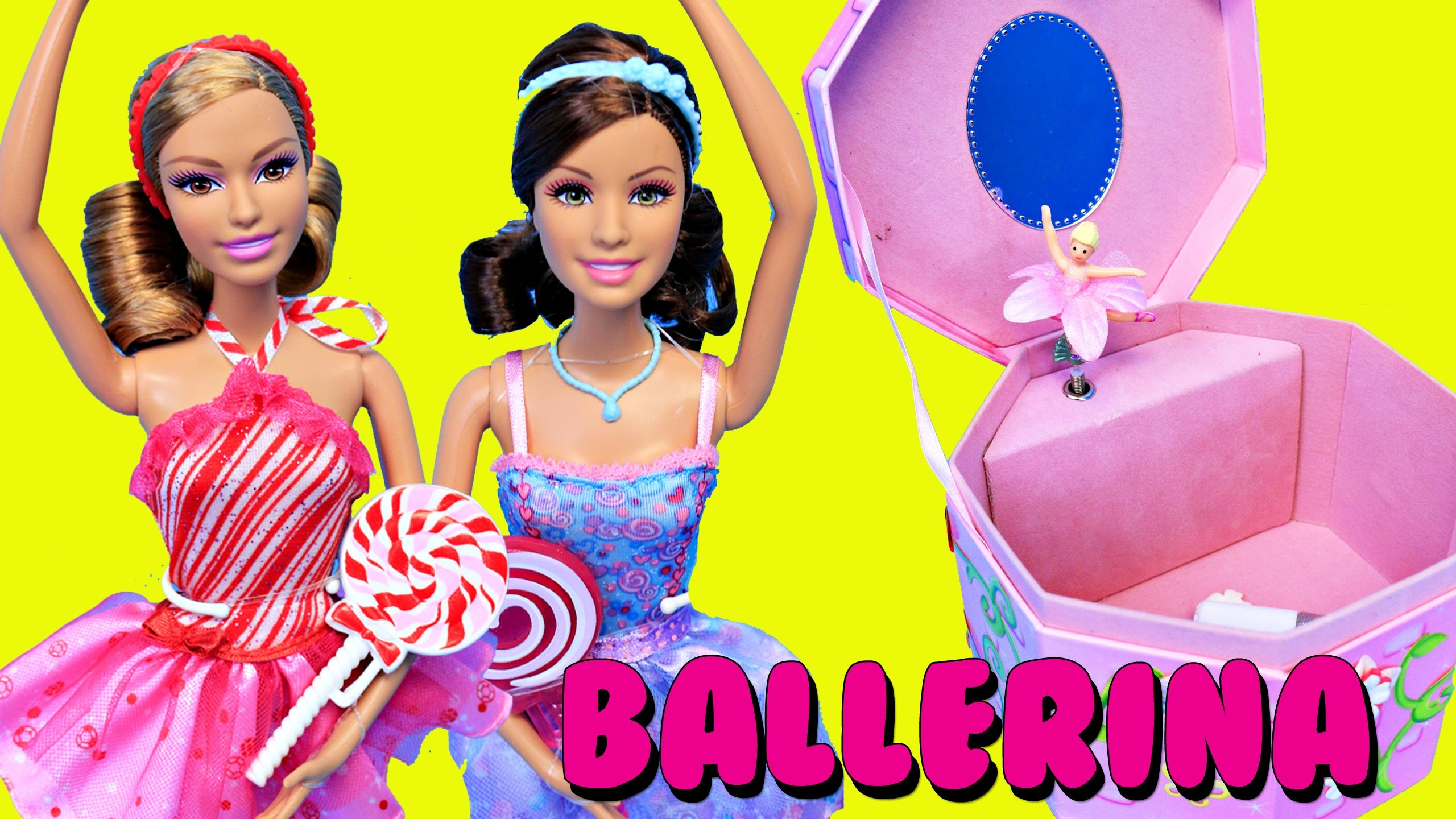 BARBIE Ballerina DIY Jewelry Box Kids Craft + Disney Princess Elsa & Little Mermaid Ariel Dolls
