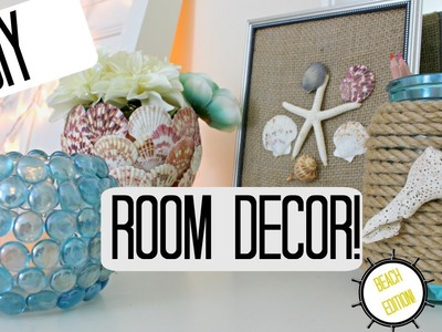 DIY ROOM DECOR IDEAS- BEACH THEME -Pinterest Inspired & Cheap!