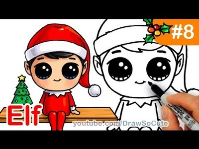 How to Draw Elf on the Shelf Cute step by step Christmas Holiday Characters
