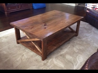 How to make a rustic coffee table with a bottom shelf.  Ana White - DIY. Video #4