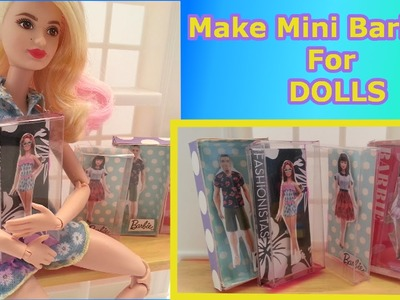 How to Make BOXED BARBIE DOLLS FOR DOLLS tutorial-Doll Crafts for Barbie, Monster High, Frozen, EAH