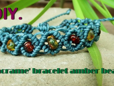 How to Make Macrame Shamballa Bracelet with Amber Stone
