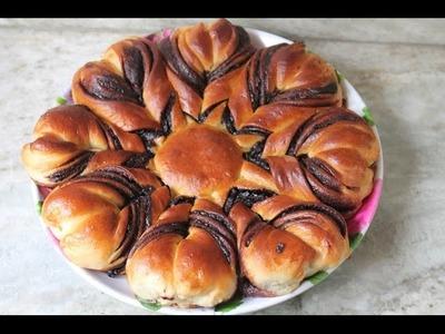 Nutella Flower Bread Recipe - How to Make Nutella Star Bread Recipe - Eggless Recipe