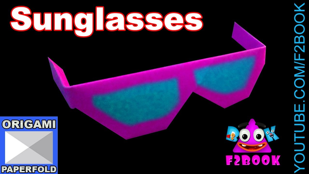 Origami Paper Sun Glasses for children -  Origami Video 58 (f2book)