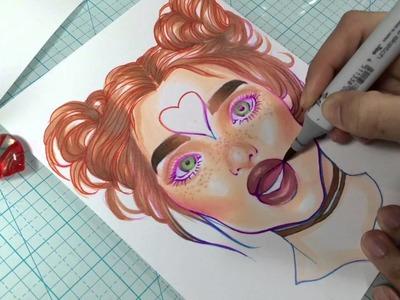 Rainbow Copic Marker Portrait