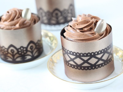 How to Make Stenciled Chocolate Dessert Cups