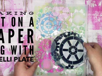 Making art on a paper bag with a Gelli Plate® for Let's Play!