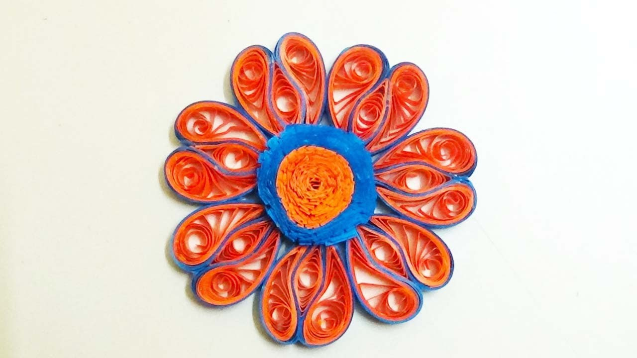 Paper Quilling: How to make lBeautiful Quilling blue and orange Flower Quilling -Paper Quilling Art