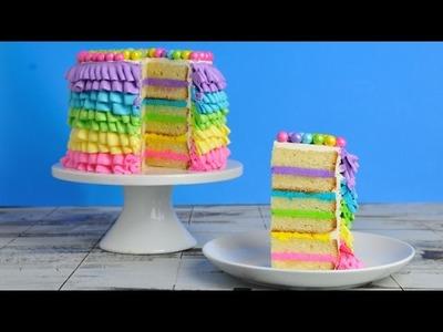 RAINBOW BUTTERCREAM RUFFLE CAKE, HANIELA'S