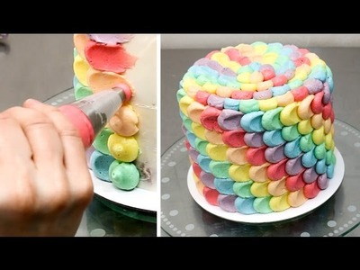 Rainbow Petal Cake - Buttercream cake decorating