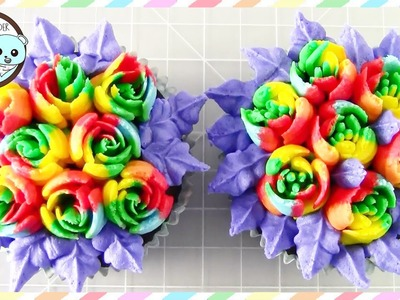 RUSSIAN PIPING TIPS: RAINBOW ROSE CUPCAKES - SUGARCODER