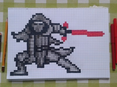 Star Wars Force Awakens Kylo Ren Pen and Paper Pixel Art Speed Drawing