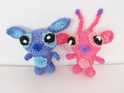 Stitch and Angel from Lilo and Stitch Rainbow Loom Bands Amigurumi Loomigurumi Hook Only Tutorial