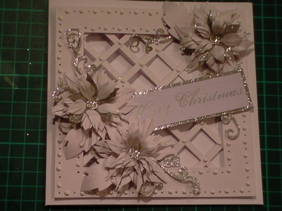 75. Cardmaking Tutorial Sparkly Poinsettia Christmas Lattice Card