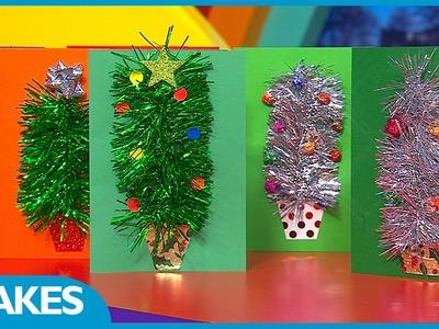 CBeebies Presenter Christmas Make: Tinsel Tree Card