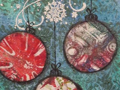 Christmas Ornaments Card: Mixed Media