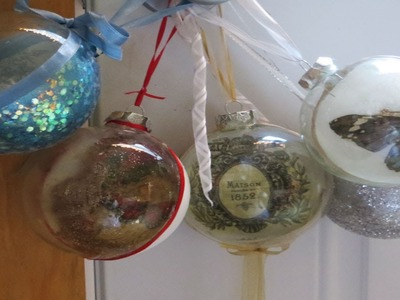 Decoupage Tutorial Christmas Balls with Glitter