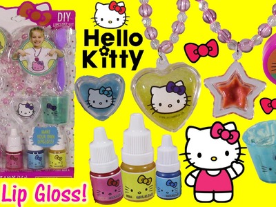 Hello Kitty DIY Lip Gloss Jewelry Kit! Mix & Make Flavored Colors! Ring Bracelet Necklace!SHOPKINS